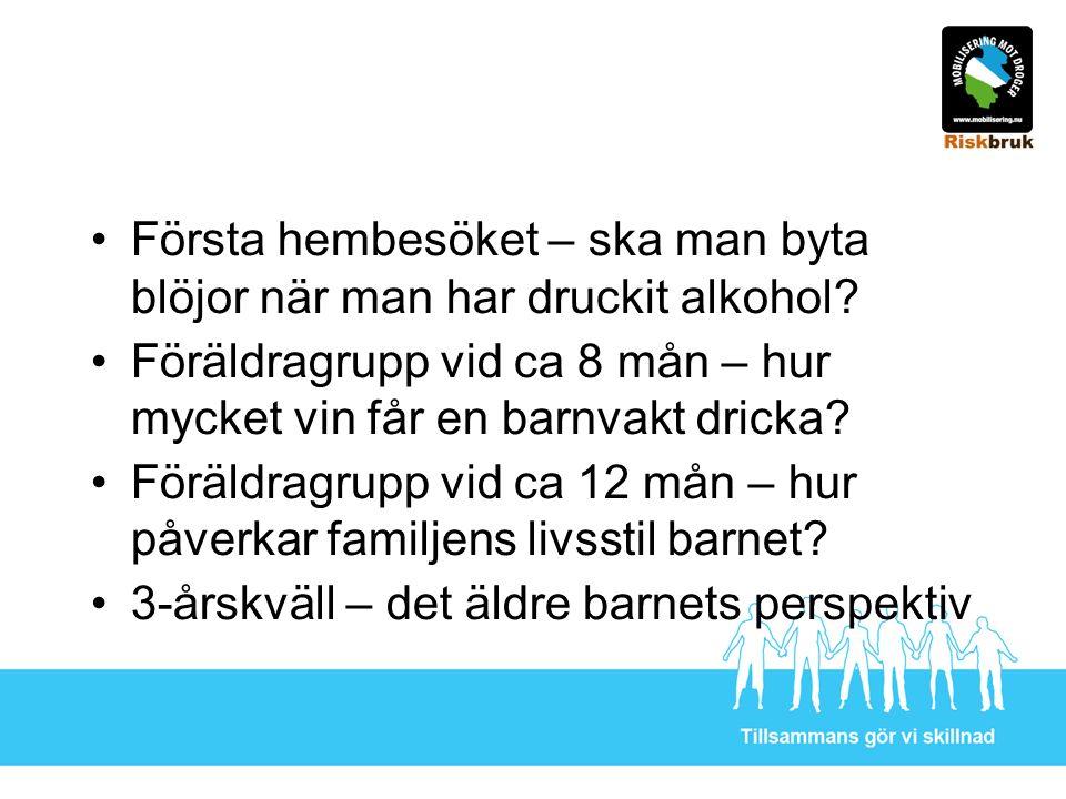 Första hembesöket – ska man byta blöjor när man har druckit alkohol? Föräldragrupp vid ca 8 mån – hur mycket vin får en barnvakt dricka? Föräldragrupp