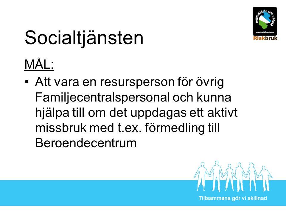 Socialtjänsten MÅL: Att vara en resursperson för övrig Familjecentralspersonal och kunna hjälpa till om det uppdagas ett aktivt missbruk med t.ex.