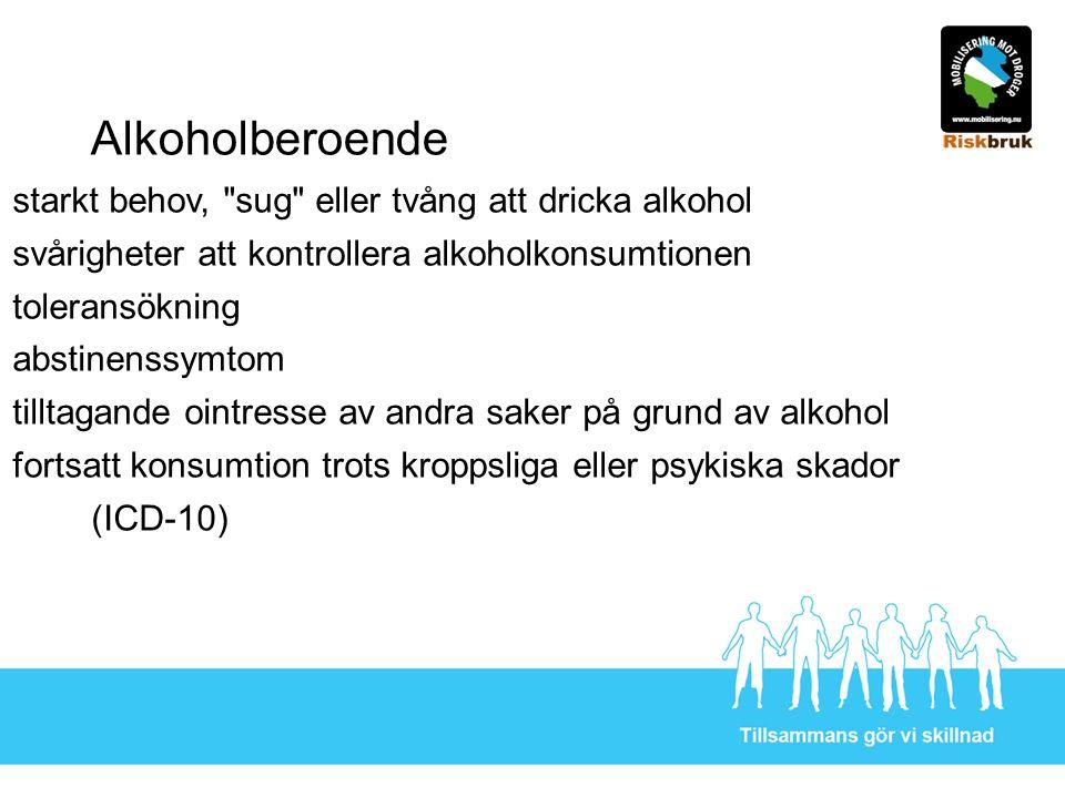 Alkoholberoende starkt behov, sug eller tvång att dricka alkohol svårigheter att kontrollera alkoholkonsumtionen toleransökning abstinenssymtom tilltagande ointresse av andra saker på grund av alkohol fortsatt konsumtion trots kroppsliga eller psykiska skador (ICD-10)