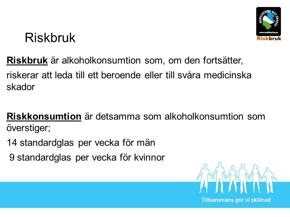 Riskbruk Riskbruk är alkoholkonsumtion som, om den fortsätter, riskerar att leda till ett beroende eller till svåra medicinska skador Riskkonsumtion ä
