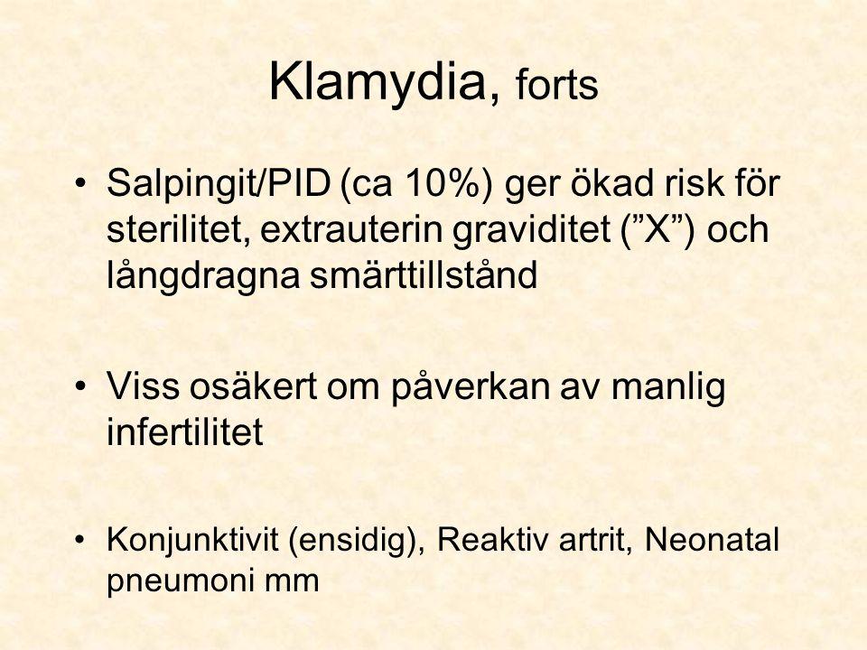 Klamydia, forts Salpingit/PID (ca 10%) ger ökad risk för sterilitet, extrauterin graviditet ( X ) och långdragna smärttillstånd Viss osäkert om påverkan av manlig infertilitet Konjunktivit (ensidig), Reaktiv artrit, Neonatal pneumoni mm