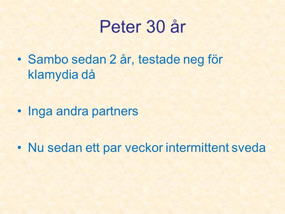Peter 30 år Sambo sedan 2 år, testade neg för klamydia då Inga andra partners Nu sedan ett par veckor intermittent sveda