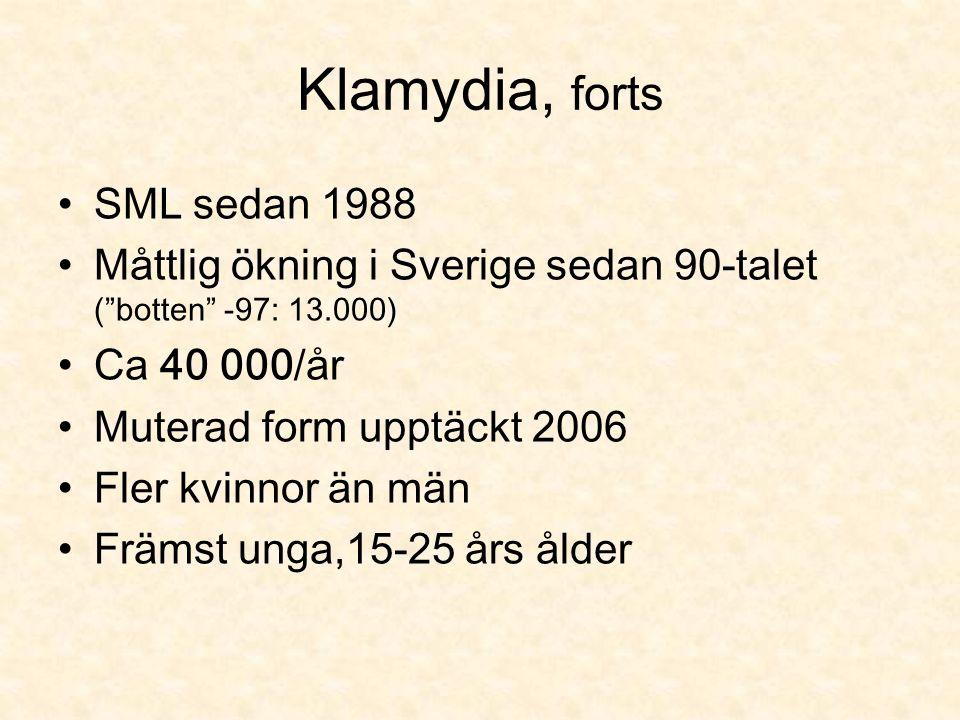 Klamydia, forts SML sedan 1988 Måttlig ökning i Sverige sedan 90-talet ( botten -97: 13.000) Ca 40 000/år Muterad form upptäckt 2006 Fler kvinnor än män Främst unga,15-25 års ålder