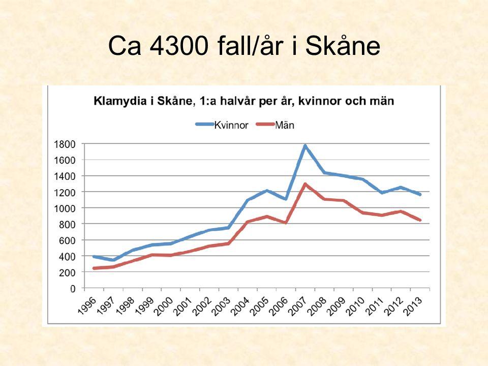 Ca 4300 fall/år i Skåne