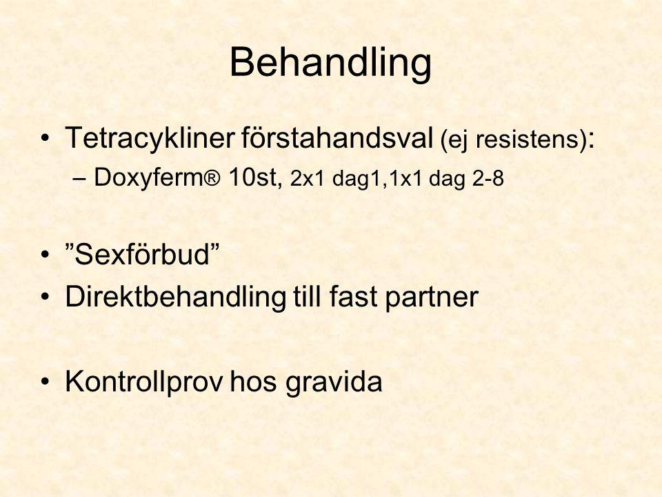 Behandling Tetracykliner förstahandsval (ej resistens) : –Doxyferm ® 10st, 2x1 dag1,1x1 dag 2-8 Sexförbud Direktbehandling till fast partner Kontrollprov hos gravida