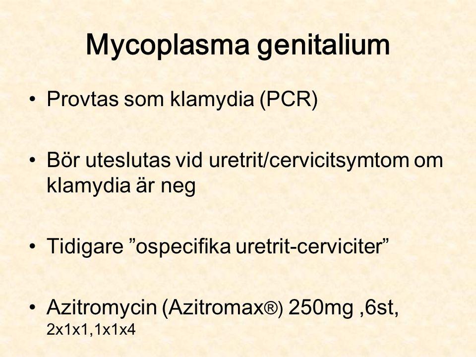 Mycoplasma genitalium Provtas som klamydia (PCR) Bör uteslutas vid uretrit/cervicitsymtom om klamydia är neg Tidigare ospecifika uretrit-cerviciter Azitromycin (Azitromax ®) 250mg,6st, 2x1x1,1x1x4
