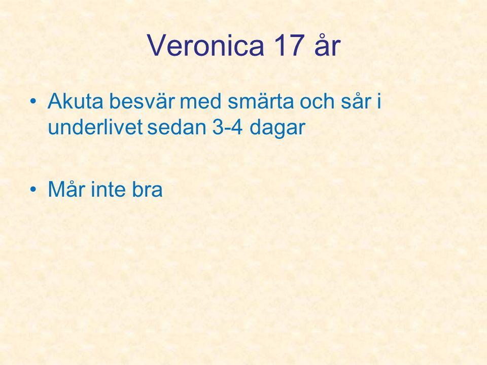Veronica 17 år Akuta besvär med smärta och sår i underlivet sedan 3-4 dagar Mår inte bra
