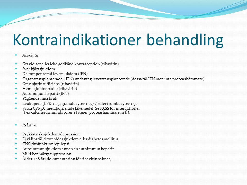Kontraindikationer behandling Absoluta Graviditet eller icke godkänd kontraception (ribavirin) Svår hjärtsjukdom Dekompenserad leversjukdom (IFN) Orga