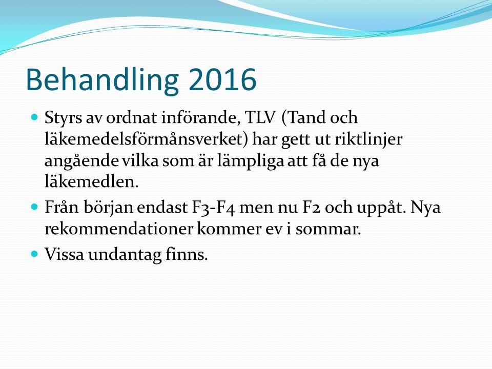 Behandling 2016 Styrs av ordnat införande, TLV (Tand och läkemedelsförmånsverket) har gett ut riktlinjer angående vilka som är lämpliga att få de nya