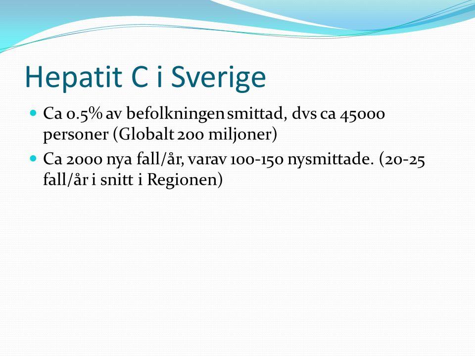 Hepatit C i Sverige Ca 0.5% av befolkningen smittad, dvs ca 45000 personer (Globalt 200 miljoner) Ca 2000 nya fall/år, varav 100-150 nysmittade. (20-2