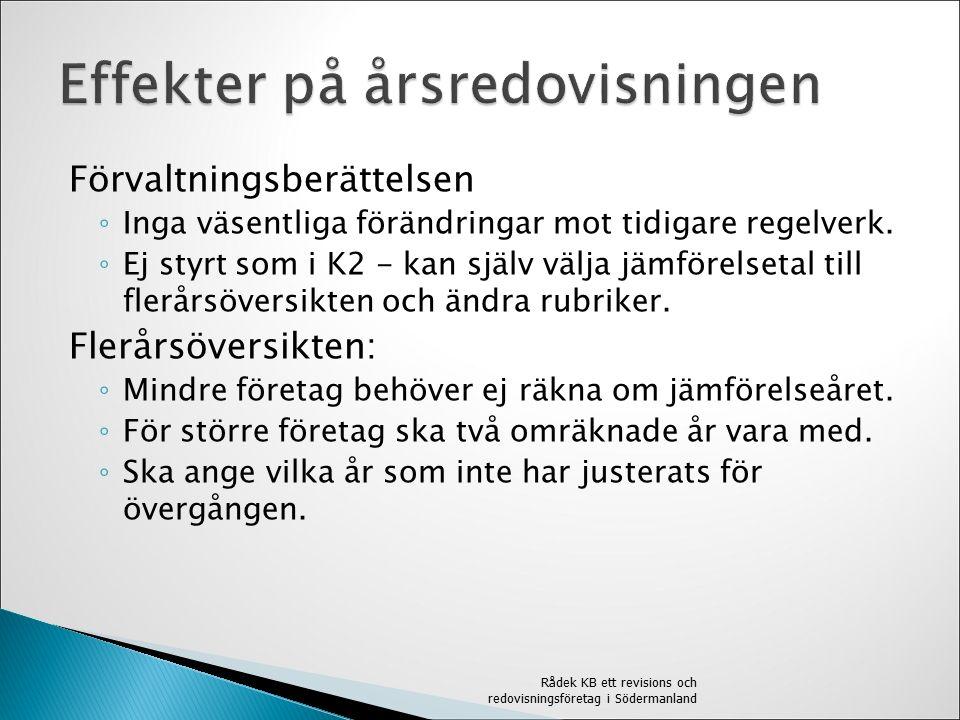 Förvaltningsberättelsen ◦ Inga väsentliga förändringar mot tidigare regelverk.