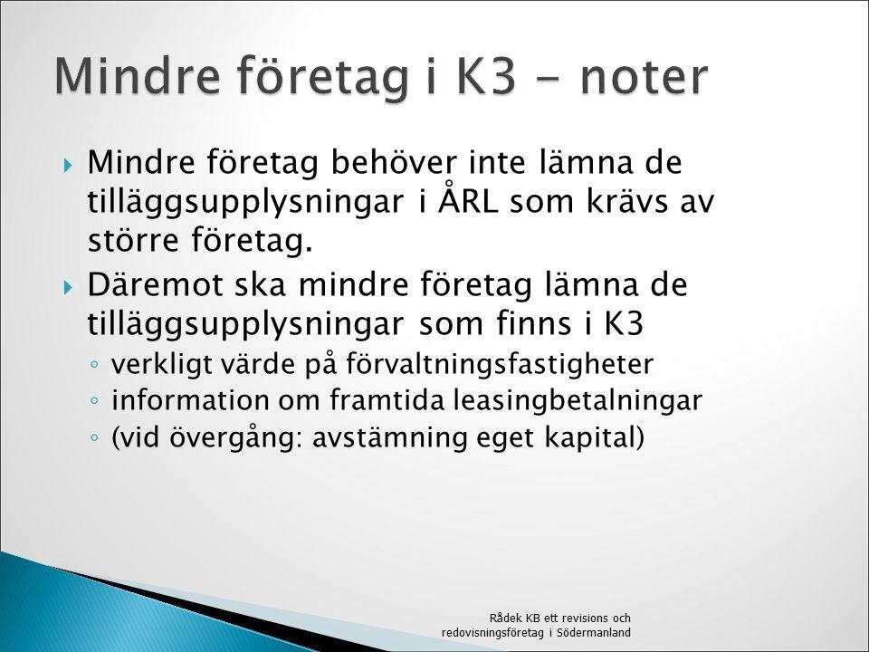  Mindre företag behöver inte lämna de tilläggsupplysningar i ÅRL som krävs av större företag.