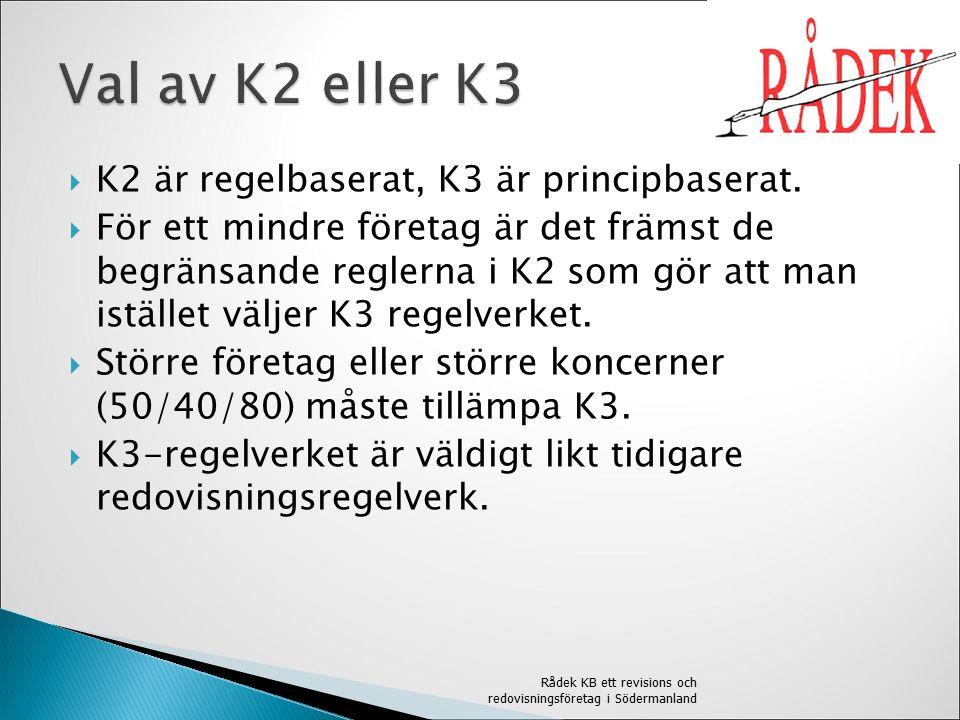  K2 är regelbaserat, K3 är principbaserat.