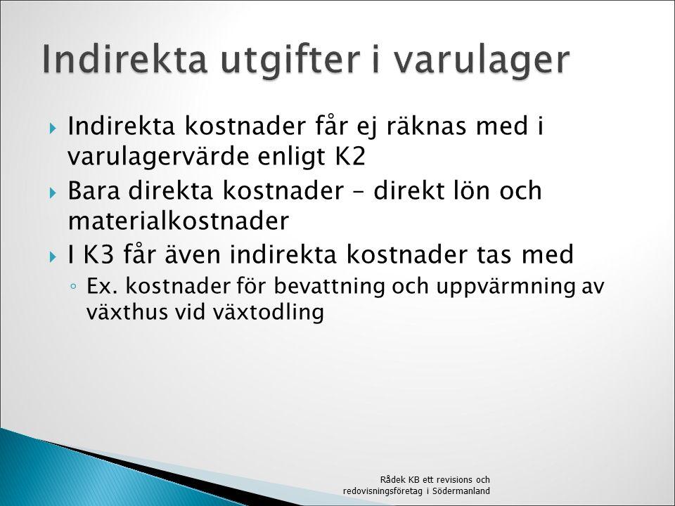  Indirekta kostnader får ej räknas med i varulagervärde enligt K2  Bara direkta kostnader – direkt lön och materialkostnader  I K3 får även indirekta kostnader tas med ◦ Ex.