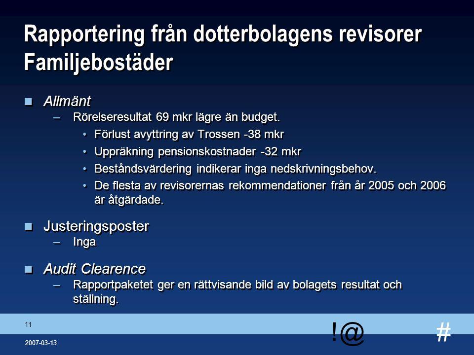 # !@ 11 2007-03-13 Rapportering från dotterbolagens revisorer Familjebostäder n Allmänt –Rörelseresultat 69 mkr lägre än budget. Förlust avyttring av