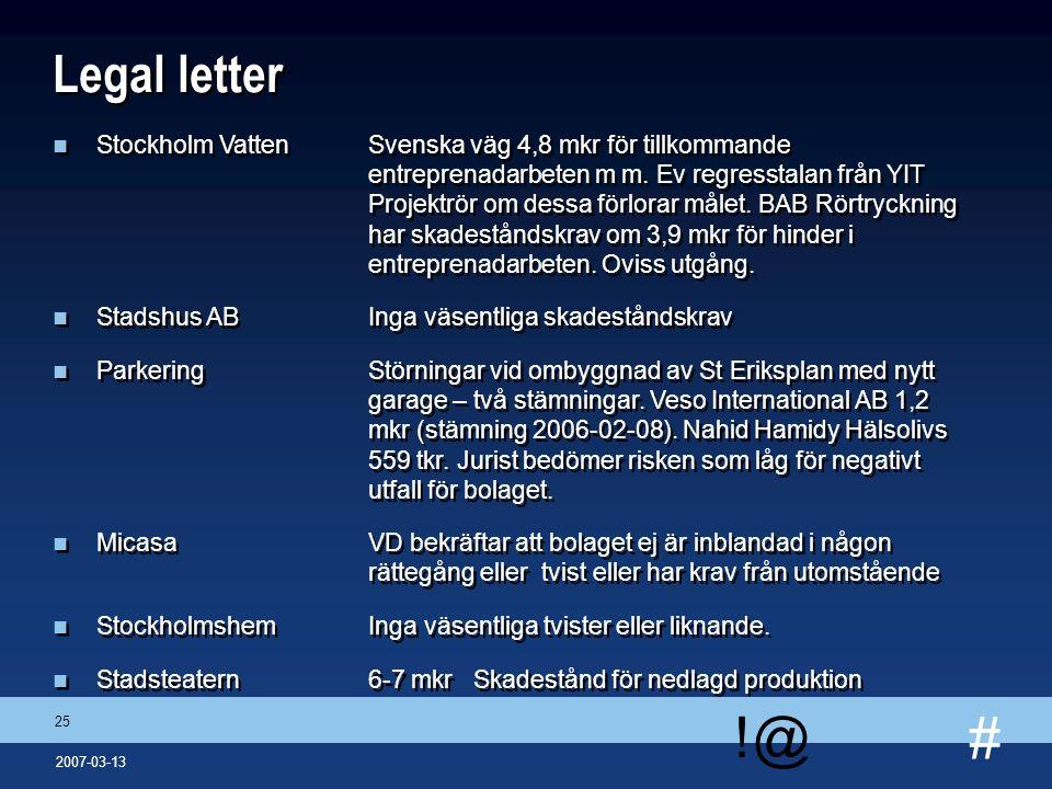 # !@ 25 2007-03-13 Legal letter n Stockholm VattenSvenska väg 4,8 mkr för tillkommande entreprenadarbeten m m. Ev regresstalan från YIT Projektrör om