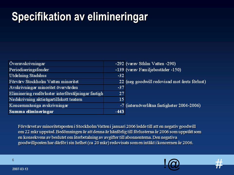 # !@ 6 2007-03-13 Specifikation av elimineringar Förvärvet av minoritetsposten i Stockholm Vatten i januari 2006 ledde till att en negativ goodwill om