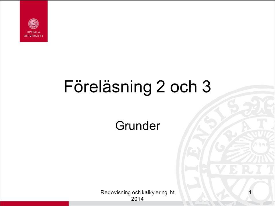 Föreläsning 2 och 3 Grunder Redovisning och kalkylering ht 2014 1