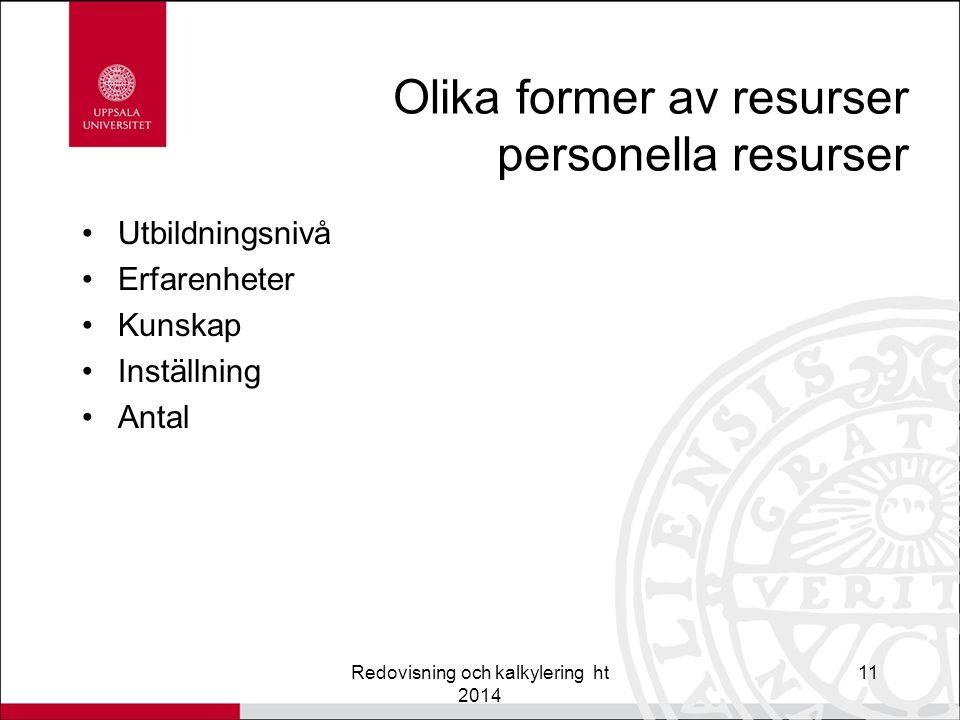 Olika former av resurser personella resurser Utbildningsnivå Erfarenheter Kunskap Inställning Antal Redovisning och kalkylering ht 2014 11