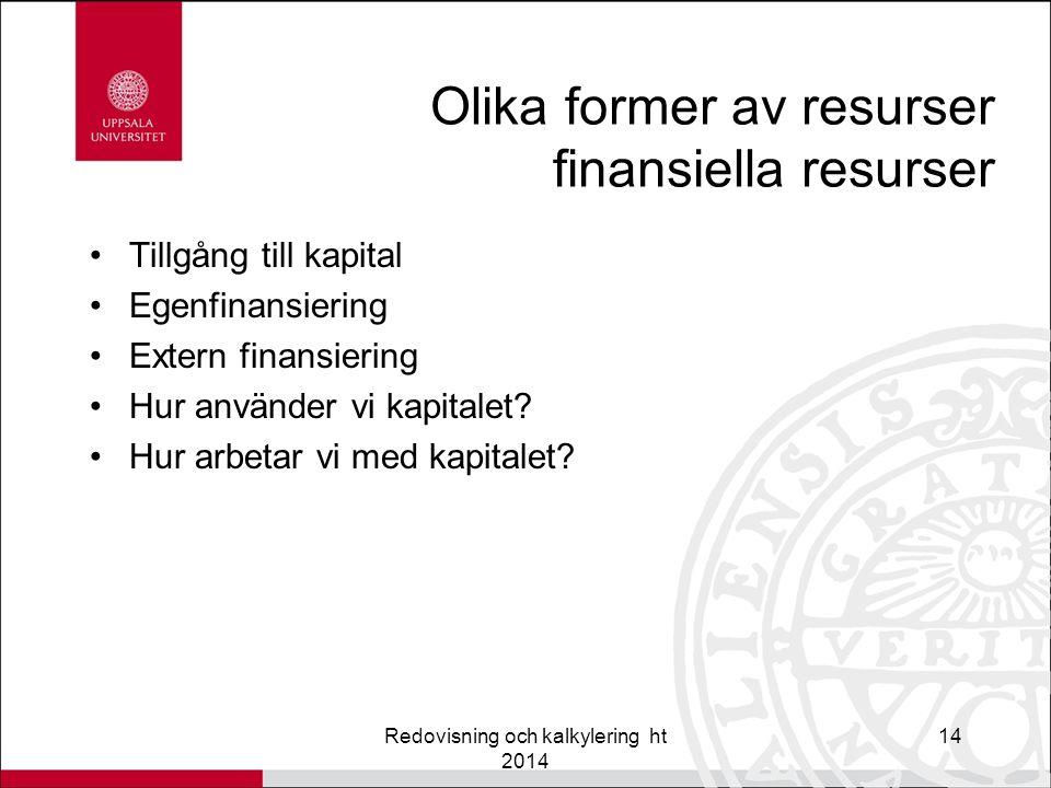 Olika former av resurser finansiella resurser Tillgång till kapital Egenfinansiering Extern finansiering Hur använder vi kapitalet.
