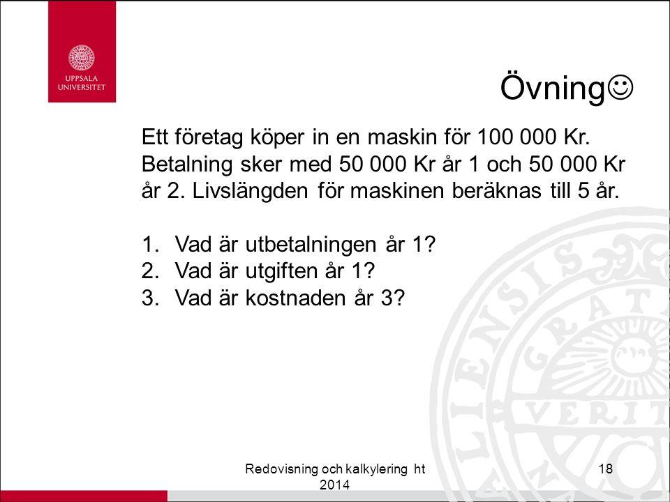 Övning Redovisning och kalkylering ht 2014 18 Ett företag köper in en maskin för 100 000 Kr.