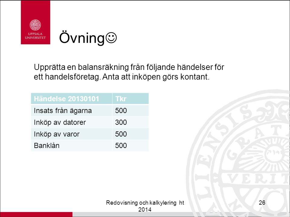 Övning Redovisning och kalkylering ht 2014 26 Upprätta en balansräkning från följande händelser för ett handelsföretag.