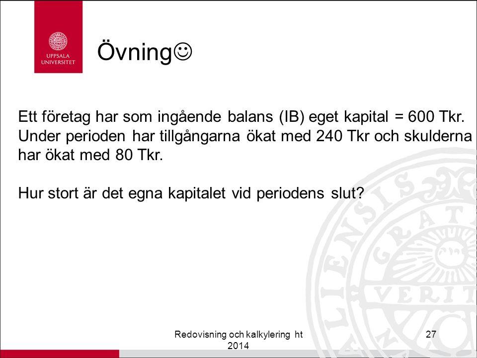 Övning Redovisning och kalkylering ht 2014 27 Ett företag har som ingående balans (IB) eget kapital = 600 Tkr.