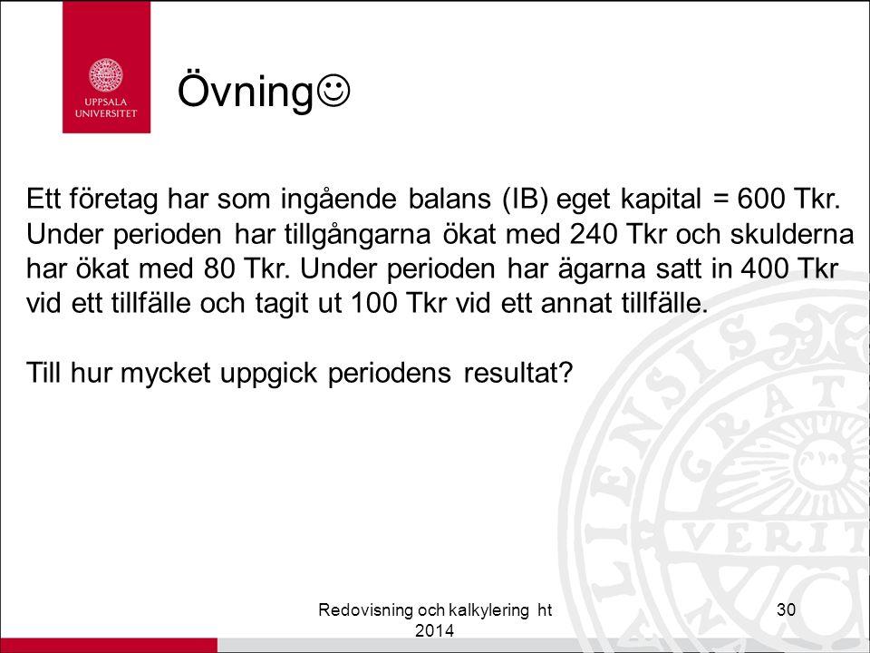 Övning Redovisning och kalkylering ht 2014 30 Ett företag har som ingående balans (IB) eget kapital = 600 Tkr.
