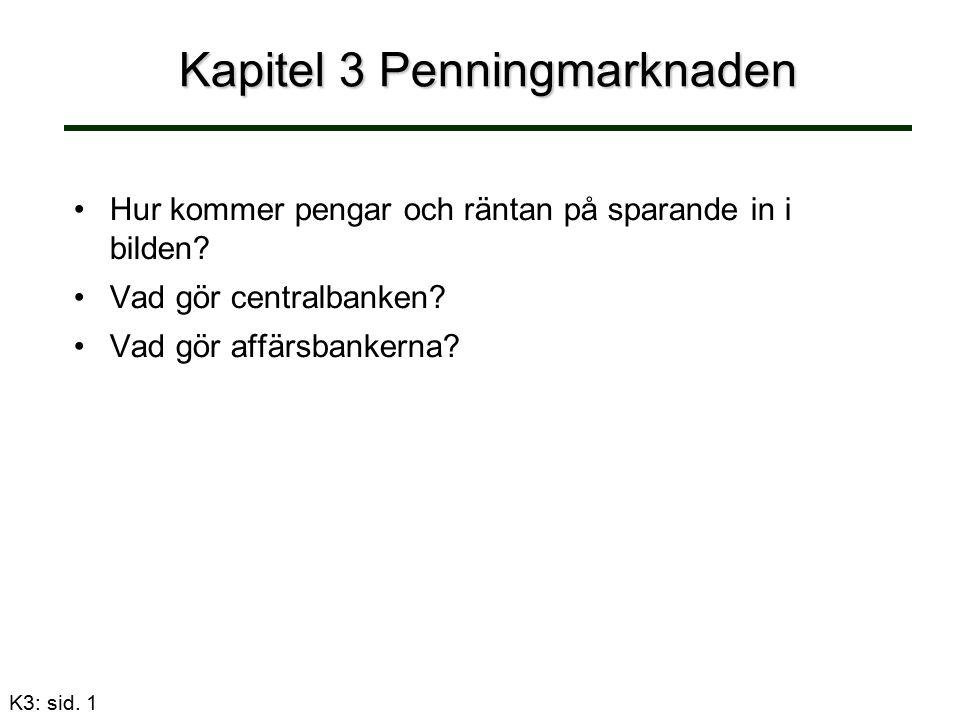 K3: sid. 1 Kapitel 3 Penningmarknaden Hur kommer pengar och räntan på sparande in i bilden.