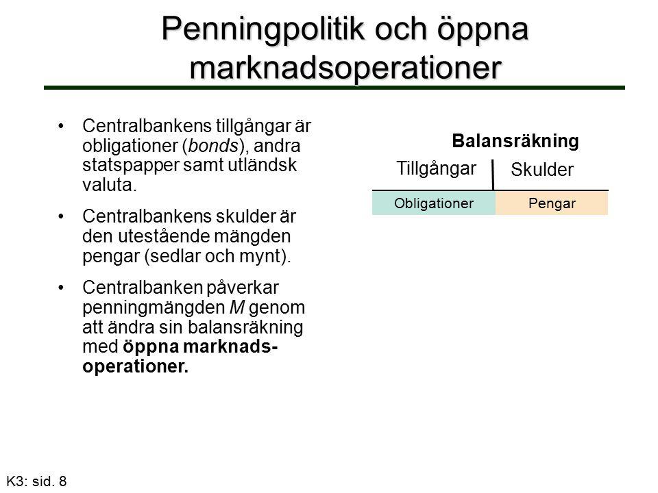 Penningpolitik och öppna marknadsoperationer Centralbankens tillgångar är obligationer (bonds), andra statspapper samt utländsk valuta.