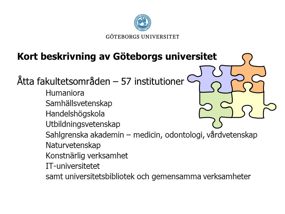 Hur har vi arbetat med FISKen I riskanalysen fann vi totalt 95 risker -24 inom grundutbildningen - 11 med och 13 med -24 inom forskning/forskarutbildning - 2 med, 13 med och 9 med -11 inom samverkansuppgiften - 4 med och 7 med -36 inom ledning/stödfunktioner - 8 med, 24 med och 4 med LÅ G ME D LÅ G ME D HÖ G LÅ G ME D LÅ G ME D HÖ G