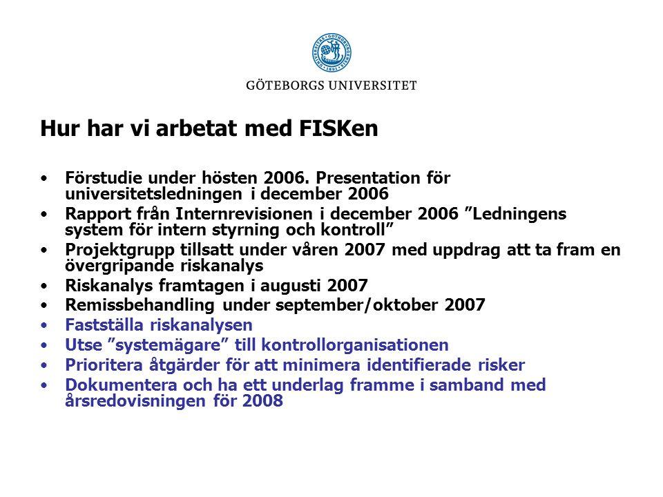 Hur har vi arbetat med FISKen Remissbehandling under september/oktober 2007 Fastställa riskanalysen Utse systemägare till kontrollorganisationen Prioritera åtgärder för att minimera identifierade risker i riskanalysen Dokumentera och ha ett underlag framme i samband med årsredovisningen för 2008