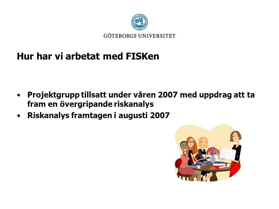 Hur har vi arbetat med FISKen Projektgrupp tillsatt under våren 2007 med uppdrag att ta fram en övergripande riskanalys Riskanalys framtagen i augusti 2007