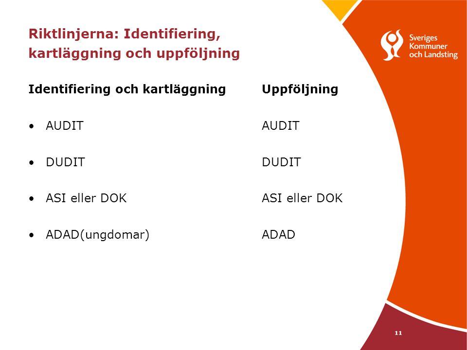 11 Riktlinjerna: Identifiering, kartläggning och uppföljning Identifiering och kartläggning Uppföljning AUDITAUDIT DUDITDUDIT ASI eller DOKASI eller DOK ADAD(ungdomar)ADAD