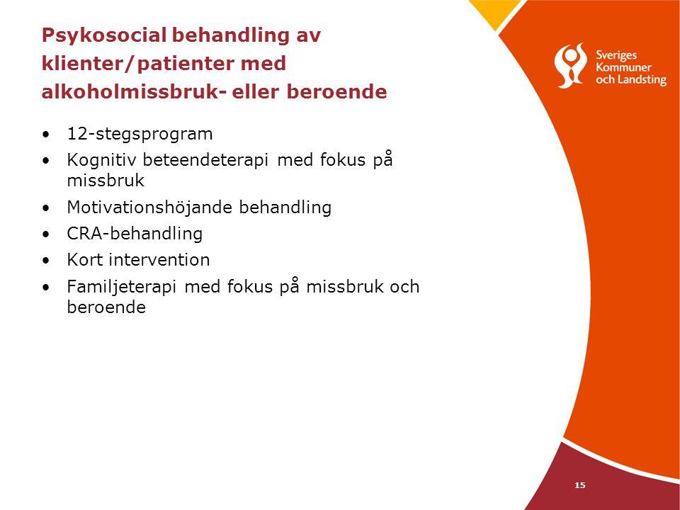 15 Psykosocial behandling av klienter/patienter med alkoholmissbruk- eller beroende 12-stegsprogram Kognitiv beteendeterapi med fokus på missbruk Motivationshöjande behandling CRA-behandling Kort intervention Familjeterapi med fokus på missbruk och beroende