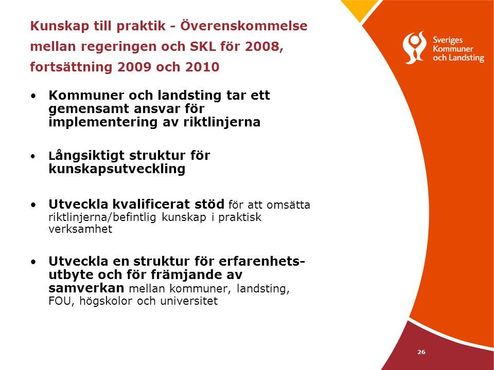 26 Kunskap till praktik - Överenskommelse mellan regeringen och SKL för 2008, fortsättning 2009 och 2010 Kommuner och landsting tar ett gemensamt ansvar för implementering av riktlinjerna L ångsiktigt struktur för kunskapsutveckling Utveckla kvalificerat stöd för att omsätta riktlinjerna/befintlig kunskap i praktisk verksamhet Utveckla en struktur för erfarenhets- utbyte och för främjande av samverkan mellan kommuner, landsting, FOU, högskolor och universitet