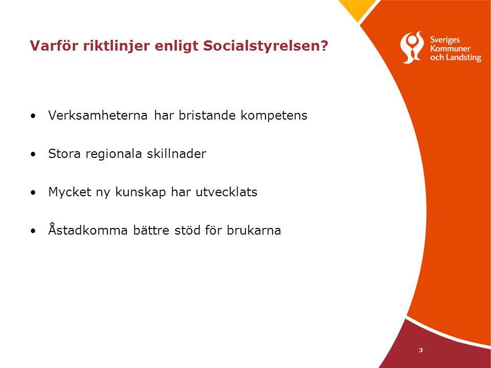 3 Varför riktlinjer enligt Socialstyrelsen? Verksamheterna har bristande kompetens Stora regionala skillnader Mycket ny kunskap har utvecklats Åstadko