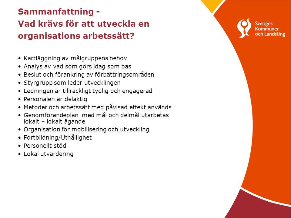 Sammanfattning - Vad krävs för att utveckla en organisations arbetssätt? Kartläggning av målgruppens behov Analys av vad som görs idag som bas Beslut