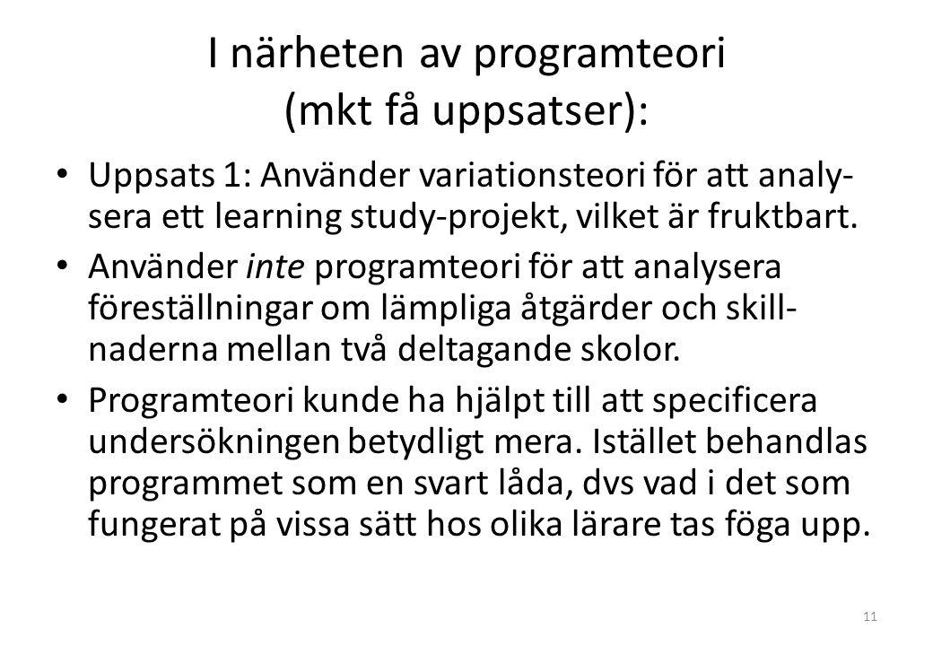 I närheten av programteori (mkt få uppsatser): Uppsats 1: Använder variationsteori för att analy- sera ett learning study-projekt, vilket är fruktbart.