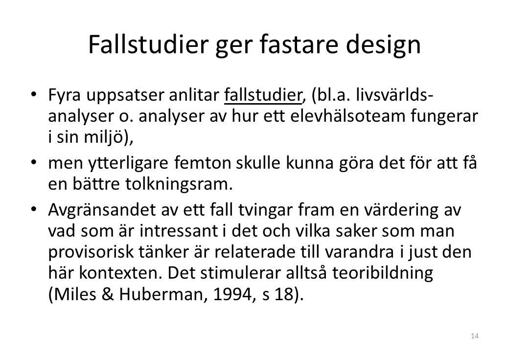 Fallstudier ger fastare design Fyra uppsatser anlitar fallstudier, (bl.a.