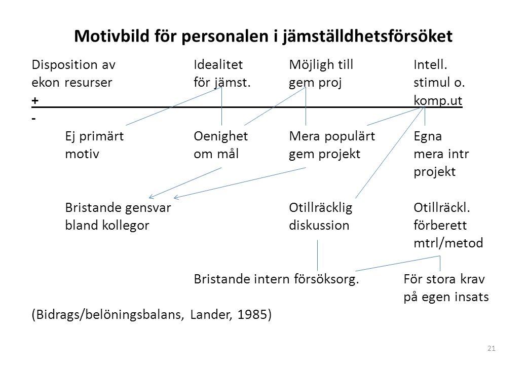 Motivbild för personalen i jämställdhetsförsöket Disposition avIdealitetMöjligh tillIntell.
