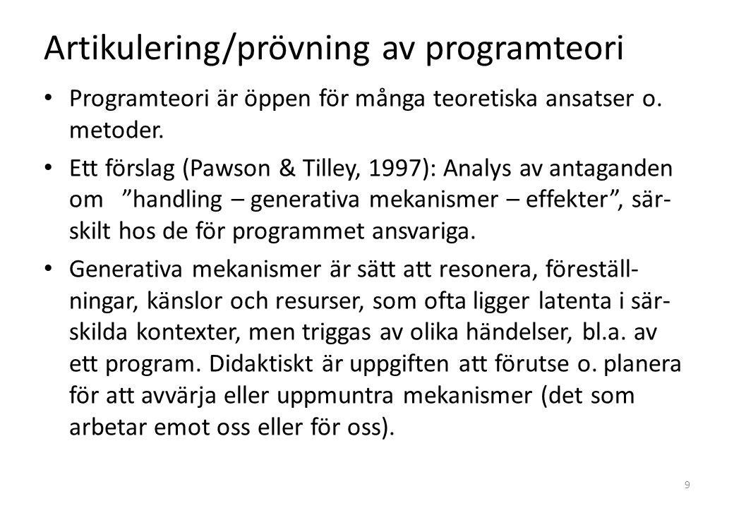 Artikulering/prövning av programteori Programteori är öppen för många teoretiska ansatser o.
