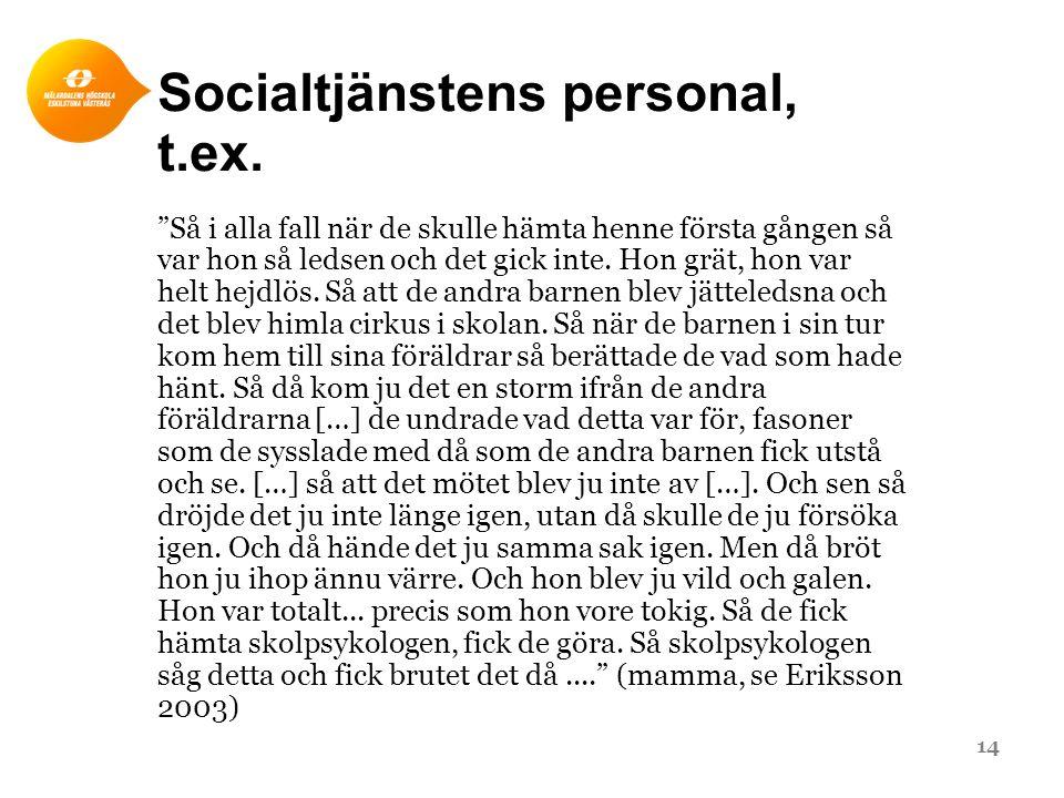 Socialtjänstens personal, t.ex.