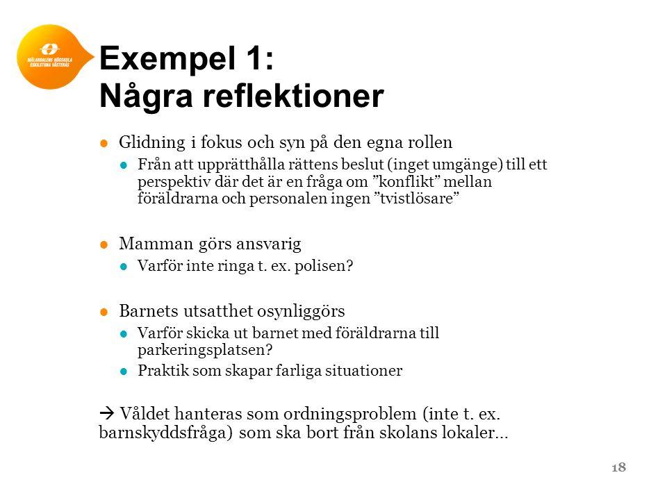 Exempel 1: Några reflektioner ●Glidning i fokus och syn på den egna rollen ●Från att upprätthålla rättens beslut (inget umgänge) till ett perspektiv d