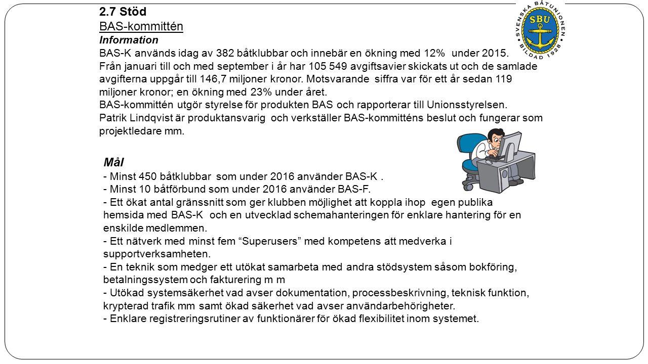 2.7 Stöd BAS-kommittén Information BAS-K används idag av 382 båtklubbar och innebär en ökning med 12% under 2015.