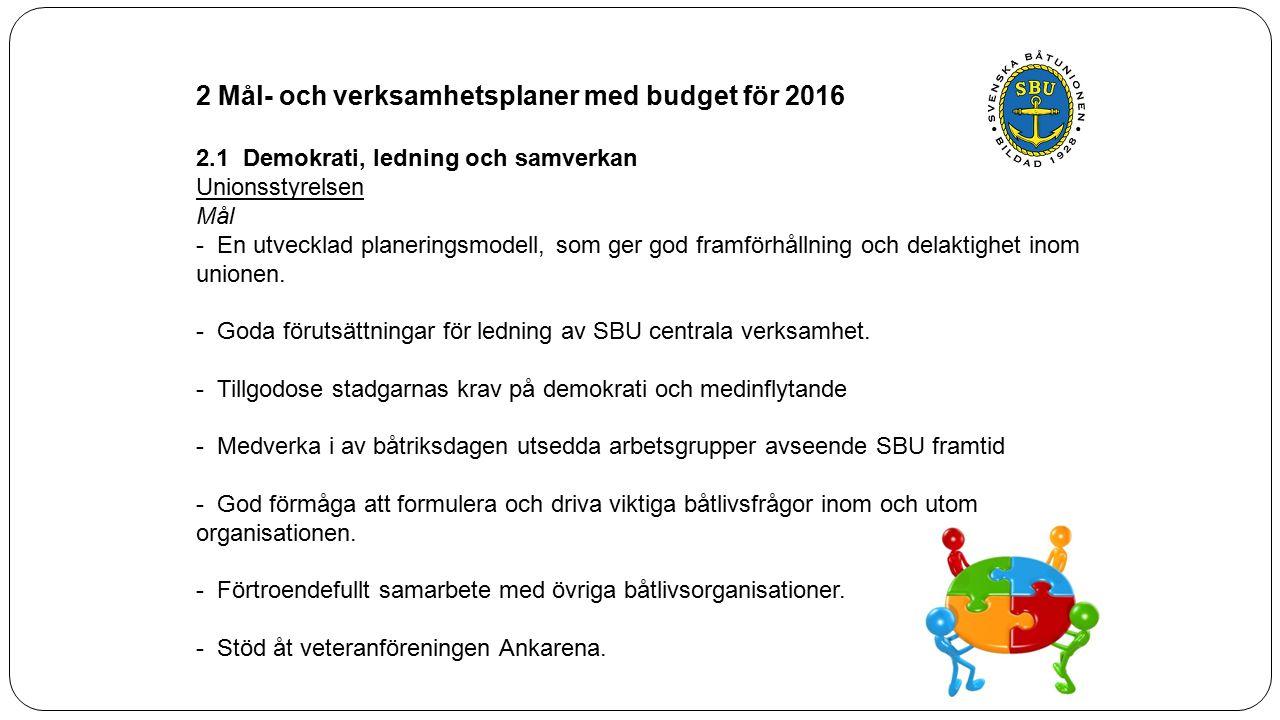 2 Mål- och verksamhetsplaner med budget för 2016 2.1 Demokrati, ledning och samverkan Unionsstyrelsen Mål - En utvecklad planeringsmodell, som ger god framförhållning och delaktighet inom unionen.