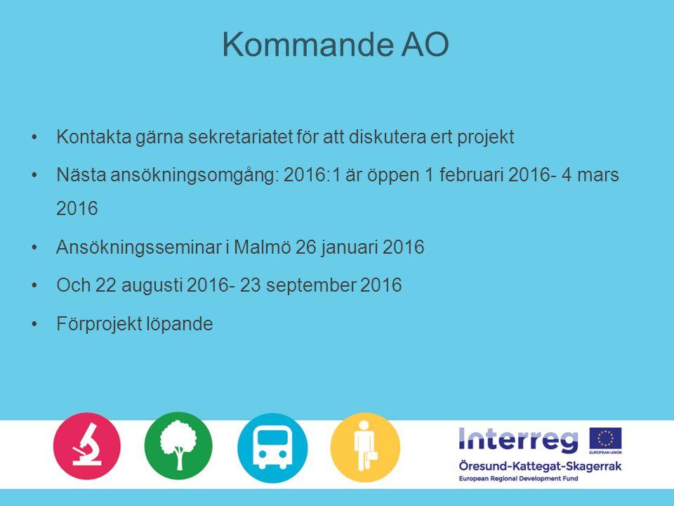 Kommande AO Kontakta gärna sekretariatet för att diskutera ert projekt Nästa ansökningsomgång: 2016:1 är öppen 1 februari 2016- 4 mars 2016 Ansökningsseminar i Malmö 26 januari 2016 Och 22 augusti 2016- 23 september 2016 Förprojekt löpande