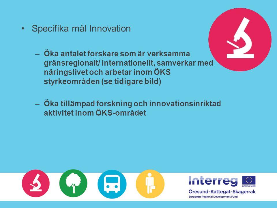 Specifika mål Innovation –Öka antalet forskare som är verksamma gränsregionalt/ internationellt, samverkar med näringslivet och arbetar inom ÖKS styrkeområden (se tidigare bild) –Öka tillämpad forskning och innovationsinriktad aktivitet inom ÖKS-området