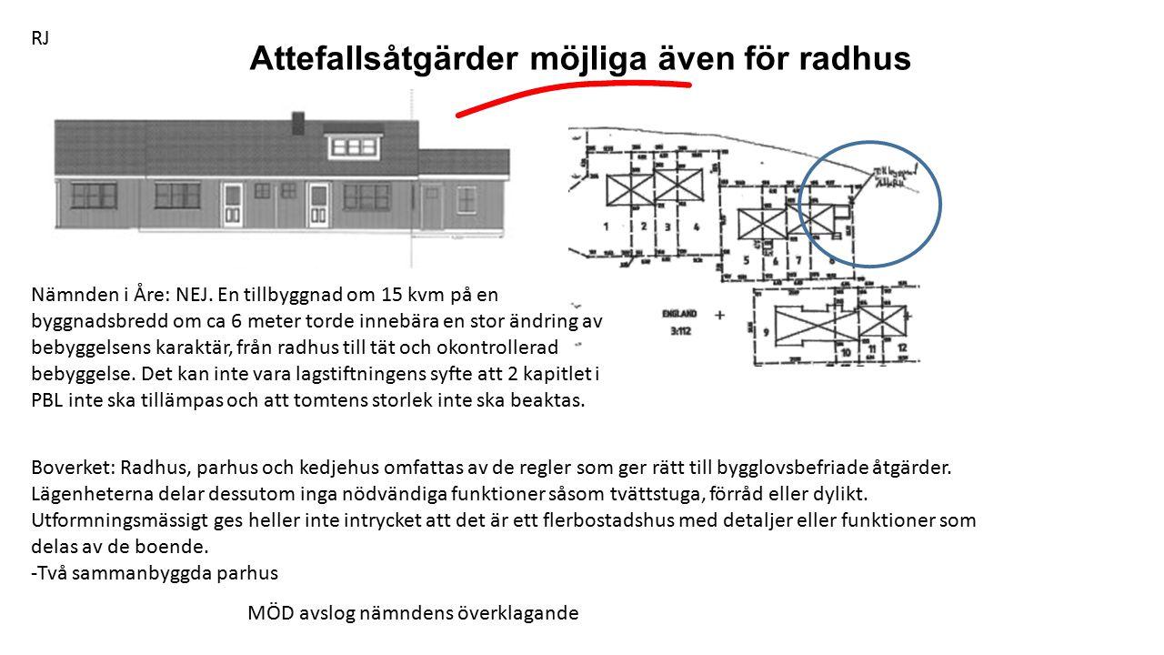 Attefallsåtgärder möjliga även för radhus Nämnden i Åre: NEJ.