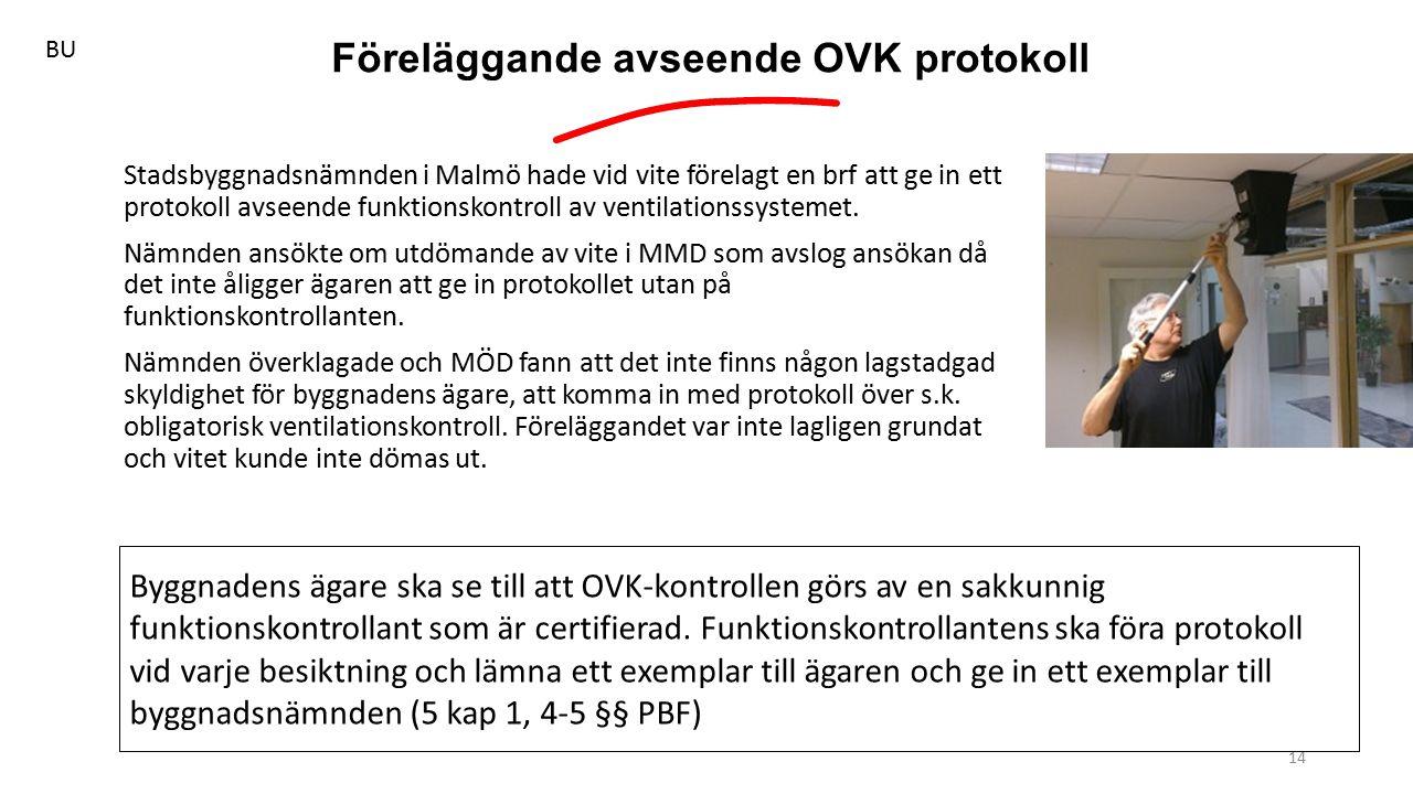 Föreläggande avseende OVK protokoll 14 Stadsbyggnadsnämnden i Malmö hade vid vite förelagt en brf att ge in ett protokoll avseende funktionskontroll av ventilationssystemet.